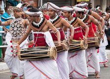 Asian traditional dancers in perahara royalty free stock image