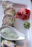 Asian  traditional dishes of specialities rolls and sushi Royalty Free Stock Image