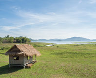 Asian traditional lake side hut with with clear blue sky Royalty Free Stock Photos