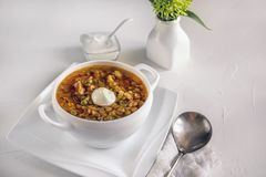 Asian traditional lentil soup with tomatoes and greens in a white bowl. Serving stock image