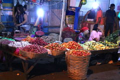 Asian Traditional Night Market With Food, Fruits, Fish and Chili Stock Photos