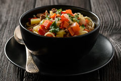 Asian traditional soup with noodles, meat and vegetables known as lagman. Royalty Free Stock Photos