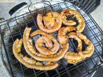 Intestine Pork for food. Asian Traditional Street Food with grilled pork intestine royalty free stock photography