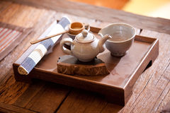 Asian traditional tea on an old rustic table Stock Images