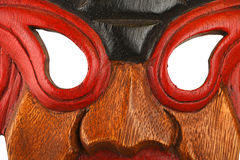 Asian traditional wooden painted mask close up Stock Photos