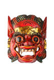 Asian traditional wooden red painted demon mask on white Royalty Free Stock Photo