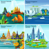 Asian Travel 2x2 Design Concept. With vietnam thailand singapore and malaysia colorful landscape compositions flat vector illustration Royalty Free Stock Photo