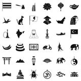 Asian travel icons set, simple style stock illustration