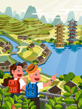 Asian travel poster Royalty Free Stock Images