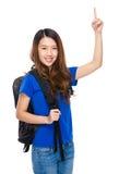 Asian traveler finger up Stock Image