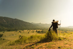 Asian travelers exploring the mountains in Chumphon, Thailand. Royalty Free Stock Photos