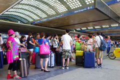 Asian Travelers Railway Station Stock Image