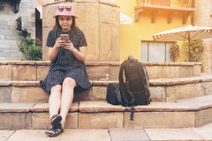 Asian traveller in Rome, Italy. Royalty Free Stock Images
