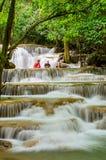 Asian travellers at Huay Mae Khamin waterfall, famous natural to Royalty Free Stock Photography