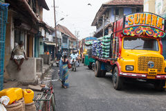 Asian truck SUHANA. Colorful asian streets. Kochi (Cochin), Kerala, India Royalty Free Stock Photography