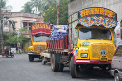 Asian trucks KANNATT and KRISHNA. Colorful trucks. Kochi (Cochin), Kerala, India Stock Image