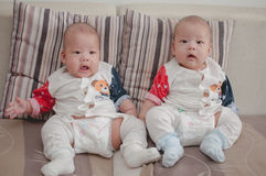 Asian twin boys Stock Photo