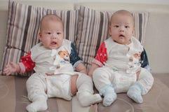 Asian twin boys Stock Photo