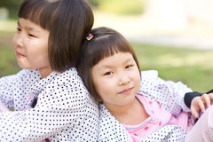 Asian twin girls Royalty Free Stock Image