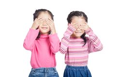 Asian twin sisters close their eyes Royalty Free Stock Photography