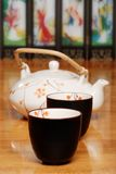 Asian two cups and tea pot Stock Photos