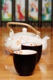Asian two cups and tea pot Stock Photos