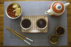 Asian type tea set on wood table view from the top royalty free stock photography