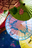Asian umbrellas. Abstract variety of colors stock photos