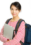 Asian university student with notebook Royalty Free Stock Photography