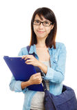 Asian university student with school bag Royalty Free Stock Image