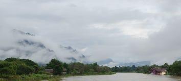 Asian urban landscape. Vangvieng, Laos Royalty Free Stock Photos