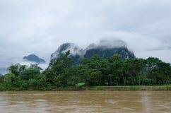 Asian urban landscape. Vangvieng, Laos Stock Photos