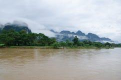 Asian urban landscape. Vangvieng, Laos Stock Photo