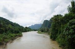 Asian urban landscape. Vangvieng, Laos Royalty Free Stock Photo