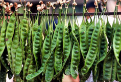 Asian Vegetable. Asian green Vegetable, hanging on display for sale at outdoor market Stock Photos