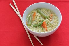 Asian vegetable noodle soup bowl Stock Images