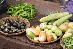 Asian vegetables. At a local market in India Stock Image