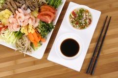 Asian food soy sauce chopsticks Stock Images