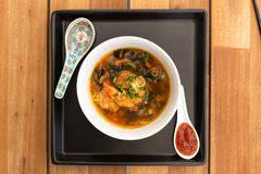 Asian vegetarian soup with shrimps Royalty Free Stock Images