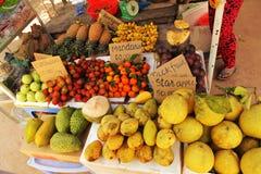 Asian vietnamese fruit market with nonny rambutan mano. Mini bananas and other fruit Stock Images