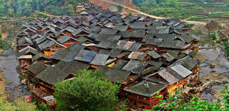 Asian village in China, wooden houses with tiled roofs. Stock Photo