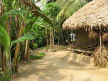 Asian Village Mud House. Typical close to nature house at an Indian village. Absolute abstinence from modern lifestyle, they are the remnant impressions of Stock Image