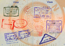 Asian visas on compass backgro. Hong kong,china,malaysia,thailand and vietnam stamps on french passport with compass in backgrounds high definition scan Royalty Free Stock Image