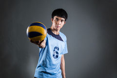 Asian volleyball athlete in action Stock Photo