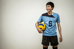 Asian Volleyball Athlete With Ball Royalty Free Stock Photo