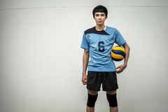 Asian Volleyball Athlete With Ball Stock Images