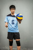 Asian Volleyball Athlete With Ball Stock Image