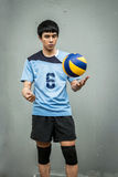 Asian Volleyball Athlete With Ball Stock Photo
