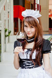 Asian waitress with wine glass concept Stock Photo