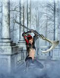 Asian warrior with axe 3d,CG Stock Image